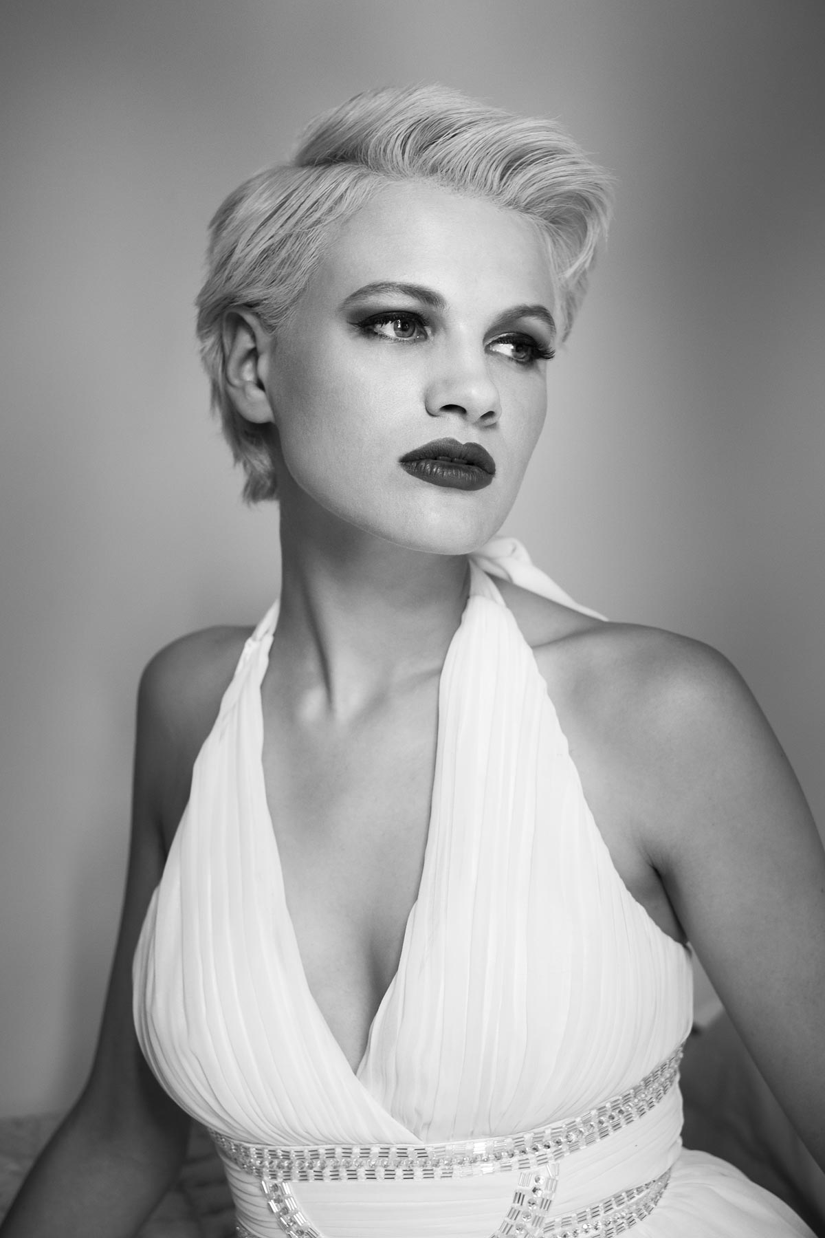 Chloe Jasmine Whichello at Pipewell Hall. Monochrome