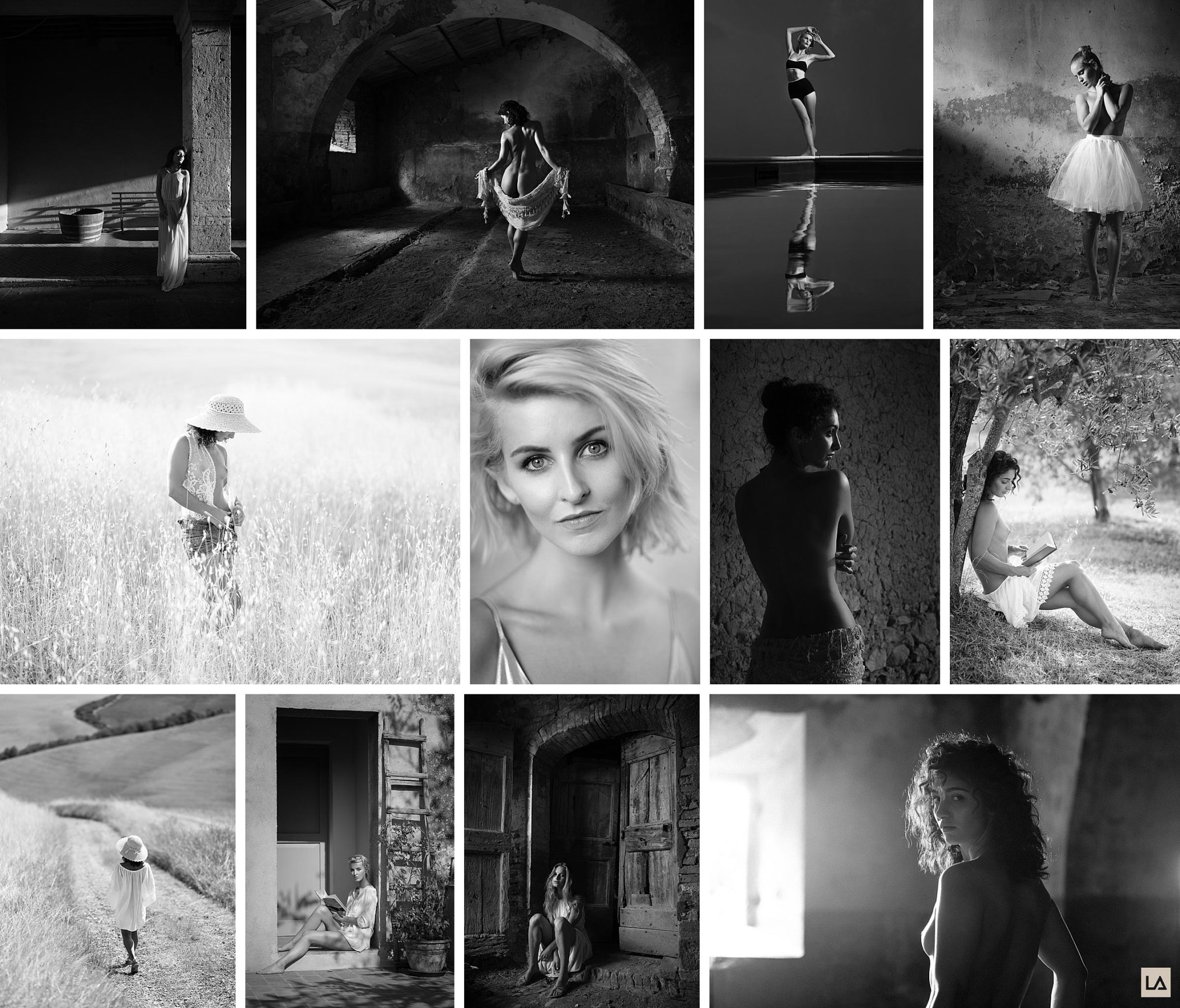 black and white pictures of models shot by Damien Lovegrove in Tuscany