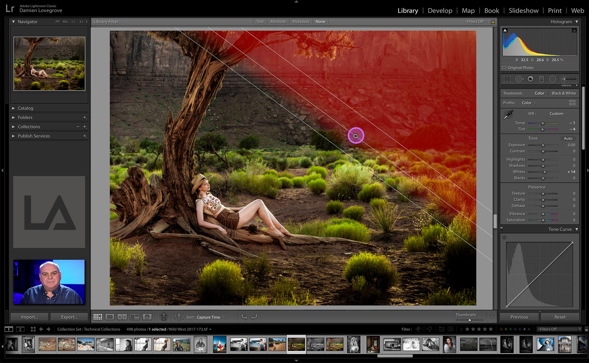 Damien Lovegrove remotely teaching Adobe Lightroom online in a 1 to 1 class