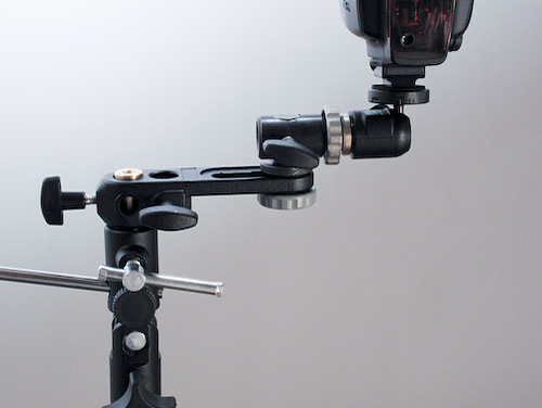 A close up view of the bracket system showing my 580EX2 flash. Note the flash infra red receptor can be angled to face the camera in any position.
