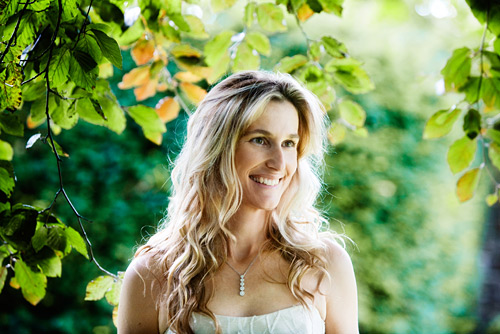 Canon 5D, ISO 640, f/3.2 at 1/100th second. A simple contre-jour bridal portrait in true Lovegrove style. I love having a dark tree canopy cut out the light from the camera direction leaving my subject rim lit.