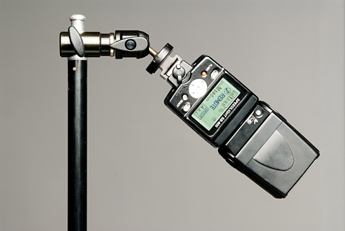 A fundamental necessety for any flash bracket is to be able to hold the flash gun in a vertical mode and pointing downwards.