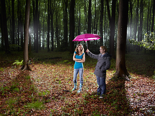 Even in the woods the rain kept coming.