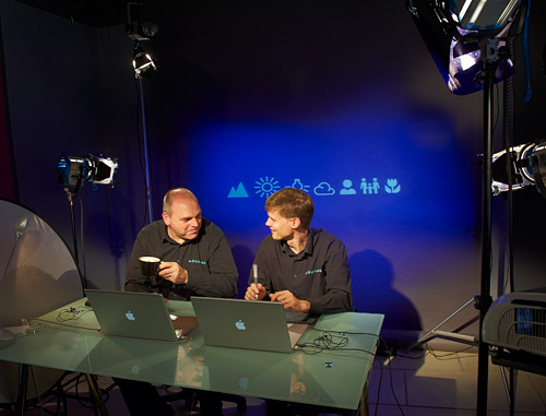 Marko and I between takes on the set at the Lovegrove studio.