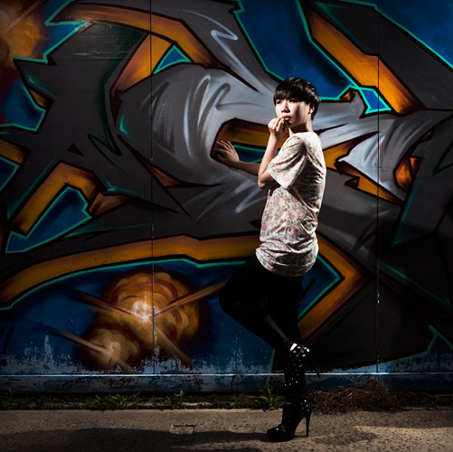 I love shooting grafiti and I used my 2 point 'key and kick' lighting system here for this shot. 2 Speedlights on stands were controlled by an ST-E2 (or an SU-800 for the Nikon shooters).