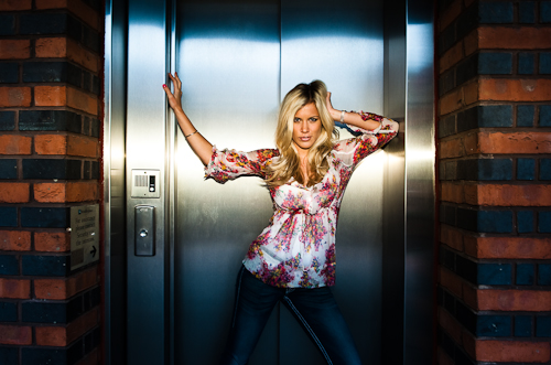 On camera flash and a stainless steel lift was a perfect combination for a few shots of Cassie.