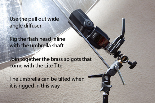 The LiteTite umbrella holder in use. Triggering umbrella flash with infra red has always