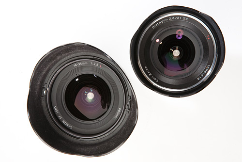 The front view of both lenses