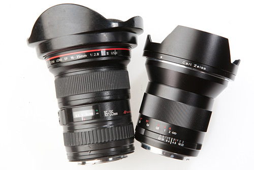 The Canon 16-35mm f/2.8L mk2 (with it's zoom ring taped up) next to the Zeiss Distagon 21mm f/2.8