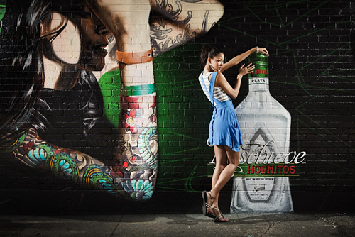 A new piece of wall art in the meat packing district was a perfect backdrop for this shot lit with two Speedlights.