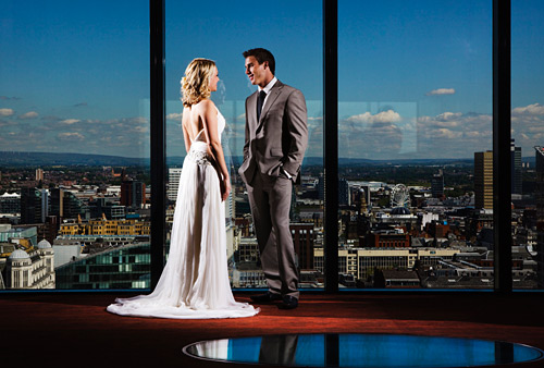 And here's another lit with two Speedlights. That's Manchester in the background and we were in Cloud 23, the bar at the famous Hilton tower. We'll be back there at some point in early 2010 that's for sure.