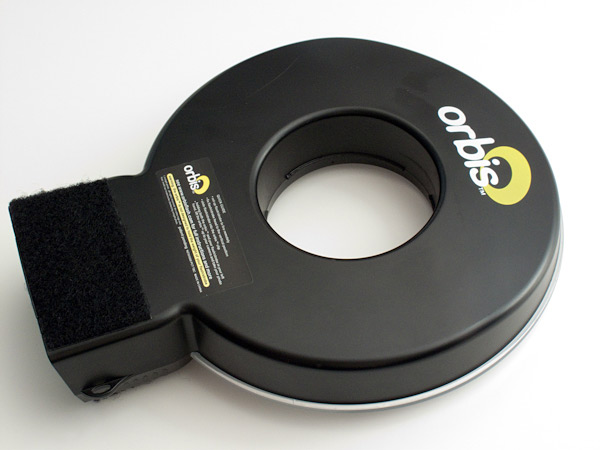 The back of Orbis showing the rear Velcro pad.