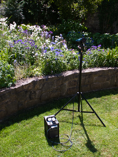 Here's the set up. Full blasing sun, clear deep blue sky, and my Broncolor Mobil A2R flash unit with it's bare faced flash head.