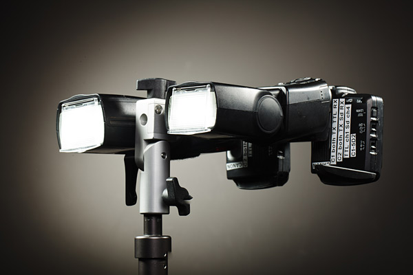 In this view you can see the usual format for setting the flash units for use with a silver or shoot through umbrella.