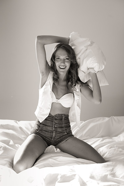 14. Then Jessica and I had a pillow fight. Generating fun and breaking down barriers is an integral part of my shooting style.