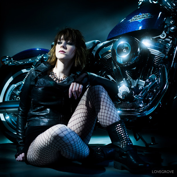 A fun studio test shoot with Vicki Blatchley and a Harley Davidson