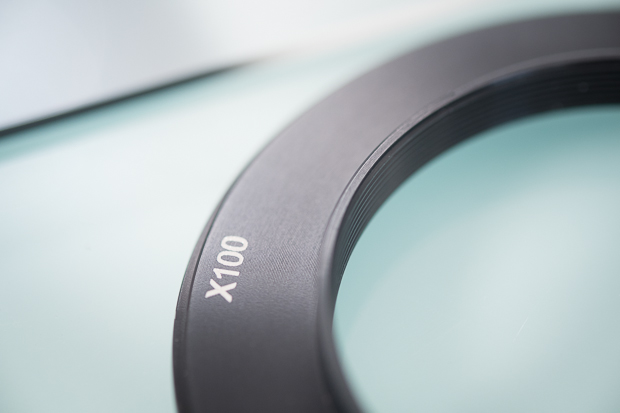 The X100 adapter ring showing the internal thread to mate with the Fuji X100 and X100s models.