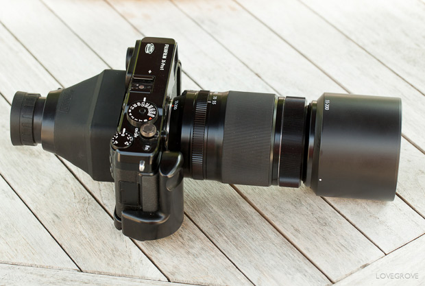 4. The Hoodman Loupe attached to my X-Pro1