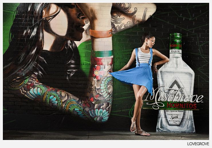4. I loved this graffiti advert so we had some fun with it. The girl in the graffiti was lit with directional hard light so I matched the style and direction on Alex. This meant that Alex could blend into the scene. We shot this frame from the other side of the street.