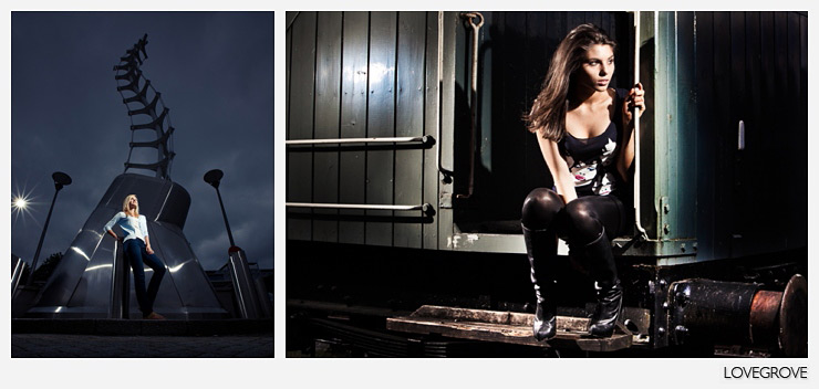 5. These two frames shot in the middle of the day in Bristol UK show what Speedlights can do on full power and fully zoomed in. The backlight can clearly be seen in the shot on the left. Speedlights are very versatile light units. You don't need to buy big name Speedlights. If it can be triggered with a radio unit and it pumps out light you are good to go. I nearly always use Speedlights unmodified and I love how hard light narrows faces and defines bone structure as shown in the shot of Stina above right.