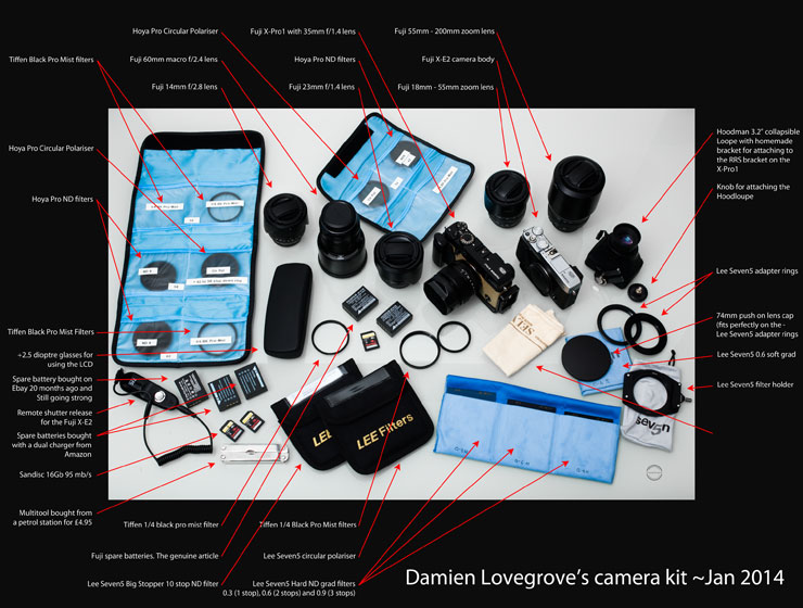 Here is a graphic showing my extended kit. (Click on the picture to see a larger version). I never take all this out on a shoot, I cherry pick the bits I need.