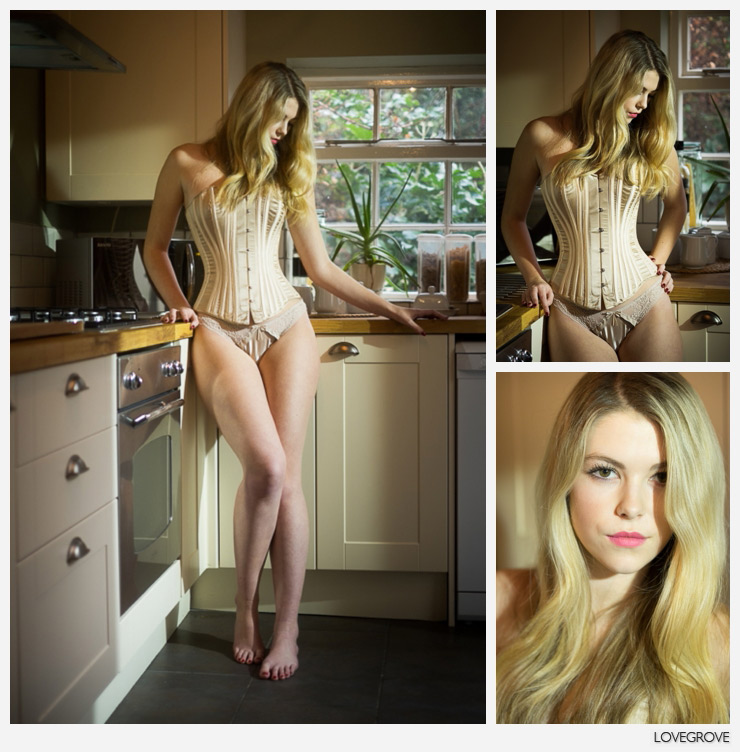 08. Holly in the kitchen wearing a fabulous corset by Lisa Keating.