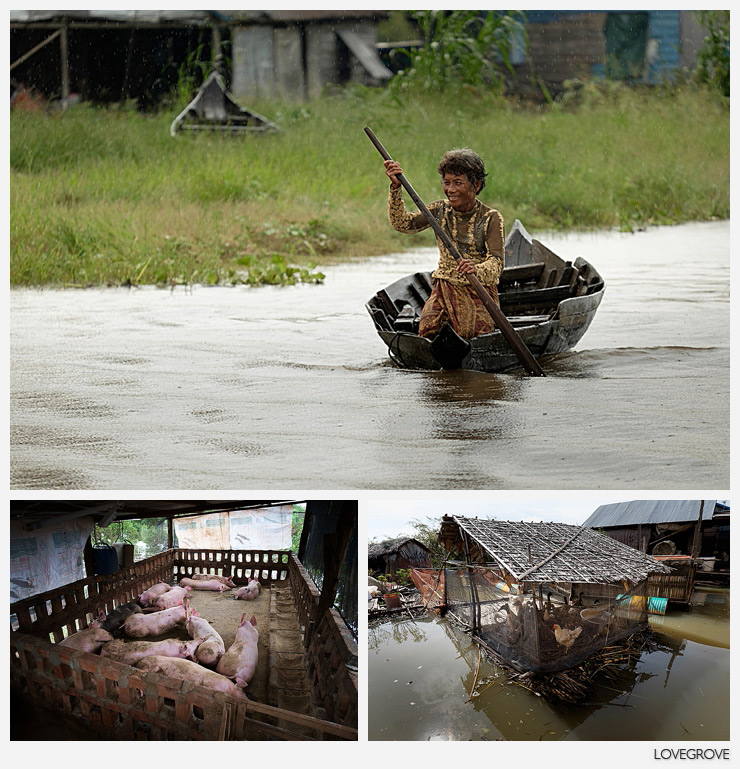 10. Even paddling in the rain a local woman raises a smile.  the livestock is on floating barges too.