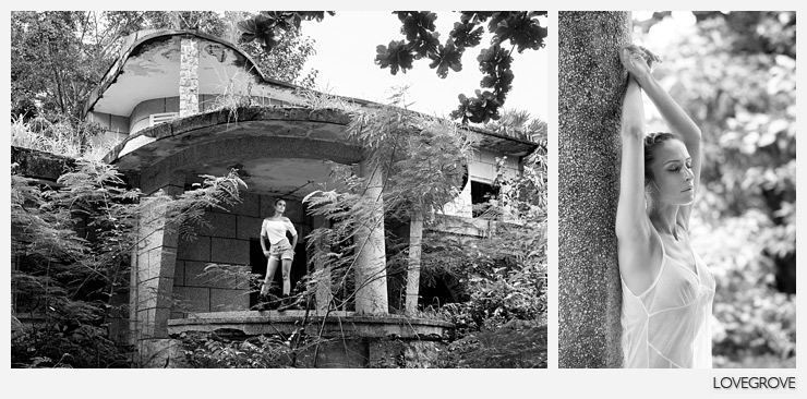 02. We started shooting in the abandoned villas in Kep. There were mortar holes in the walls and grenade holes in reinforced concrete floors.