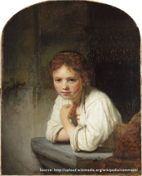 2. Girl at a Window by Rembrand shows how he established controlled side lighting from a relatively large window to create a mood. You can tell the portrait was taken in a basement with the light coming through the window from above.