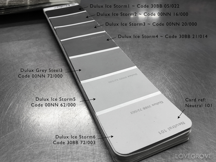 3. Here are the codes for the complete Ice Storm range of neutral paint colours. Ice Storm1 is black and Ice Storm7 is a sort of dove white.