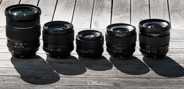 The lenses I'm taking to Spain to test. From left to right: XF 16-55mm f/2.8 zoom, XF 56mm f/1.2, XF 35mm f/1.4, XF 23mm f/1.4 and XF 16mm f/1.4 primes