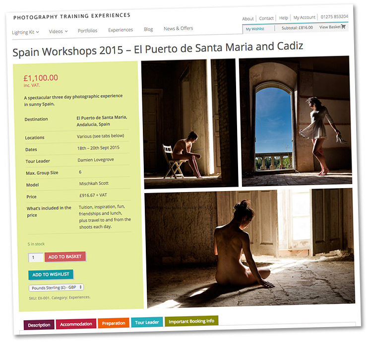 The Spain workshops are just one of the Lovegrove photography experiences set for 2015. Click on the image for more information from our new website.