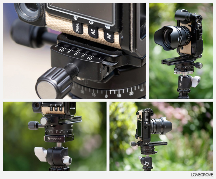 When shooting panorama photographs the camera is rigged vertically using the L plate. The frame top right shows the camera rigged so that the axis of the lens is exactly on the centre line of the rotation. This is why it is good to have accurate markings on your L bracket.