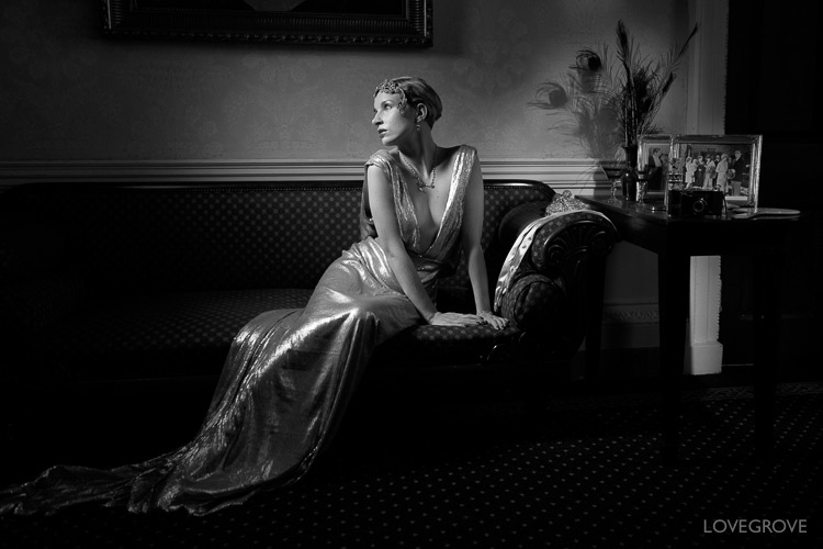 06. I shoot a lot of profile pictures and I particularly like full length shots in profile. Here I used a Lupolux LED 1000 rigged at 90 degrees to the camera and down the nose of Mina Renoir. Mina wears a couture dress by Molly Mishy May.