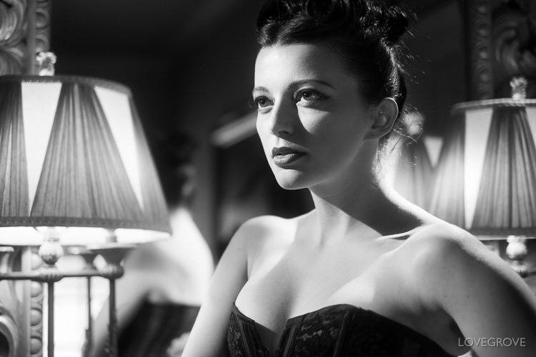07. Helen Diaz is looking every bit the Hollywood siren in this shot. Notice the cheek triangle of light. This occurs when the nose shadow touches the cheek shadow to enclose a triangle of light. The trick for the Hollywood look is to always shoot into the unlit side of the face.