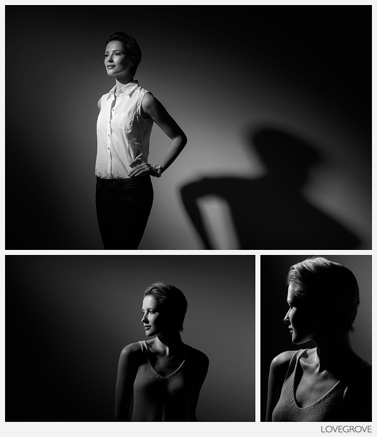 02. One light magic using a single pool of light from a 21cm reflector and grid.