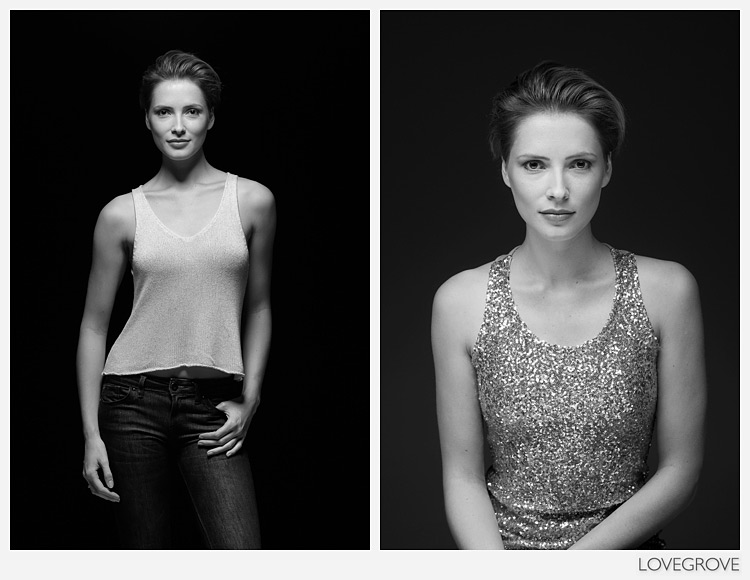 04. I introduced my 'old friend' a classic beauty reflector for the shot on the right. Both shots are still with one light.