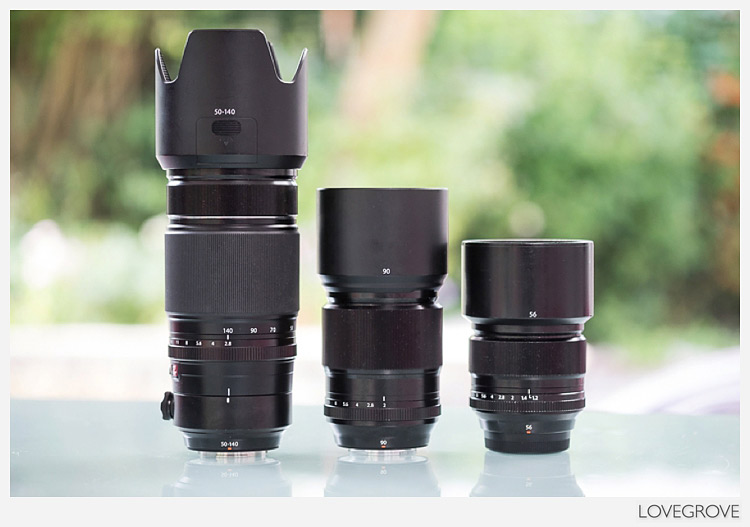 Fuji XF 50mm-140mm lens compared to fuji 56mm and 90mm lenses