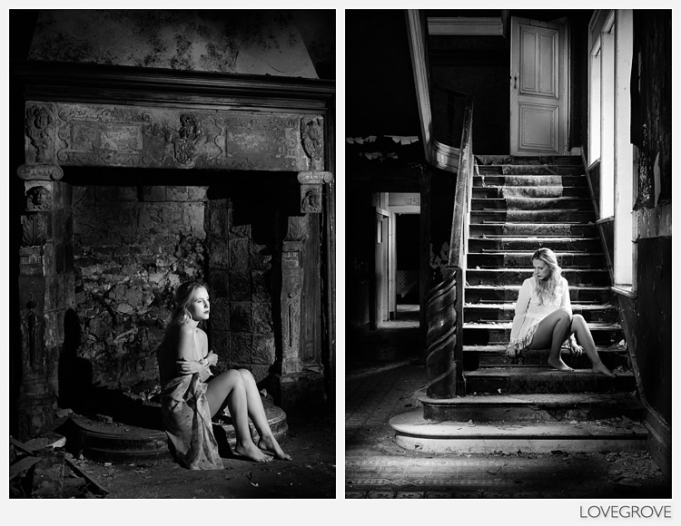 Sheena Williams in an abandoned chateau
