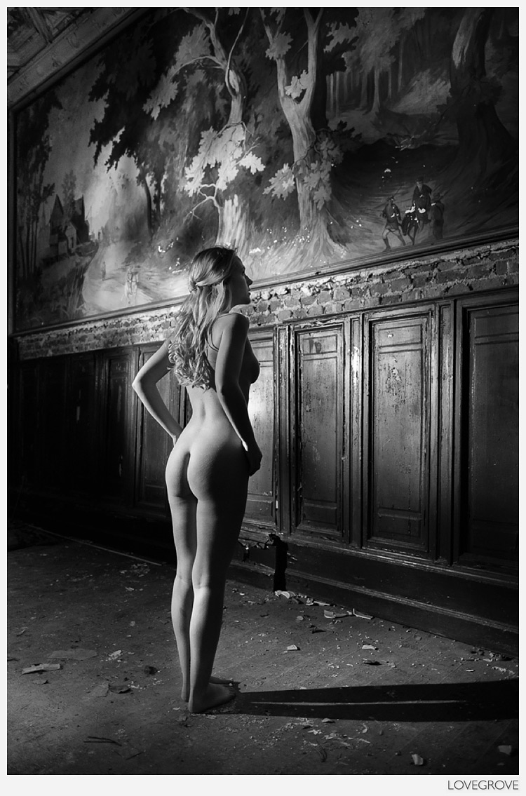 Netherlands Playboy model Sheena Williams nude examines a painting.