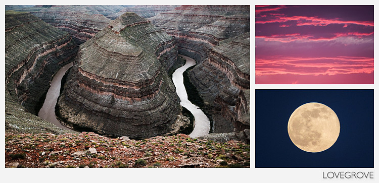 10. Left: Snake river viewpoint after sundown taken with the 14mm lens. Right: The afterglow and the full moon shot with the 100-400mm lens.