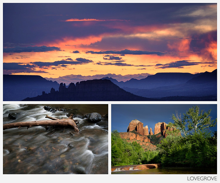 13. Sedona views. The afterglow from Airport Messa, Cathedral rock in the afternoon light and Oak Creek.