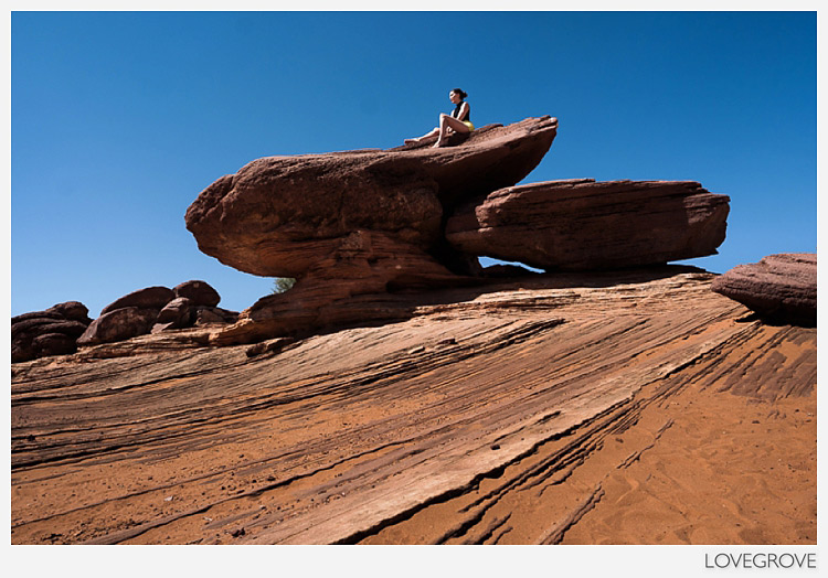 26. Chantelle hopped up on this rock for a fun shot while some of our group were still photographing Horseshoe bend in the Colorado.