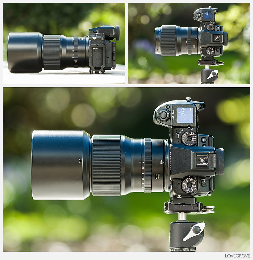 Three views of the new Fujifilm GF 110mm lens for the GFX camera. Fuji have produced a gem of a lens in this 110mm f/2 optic.
