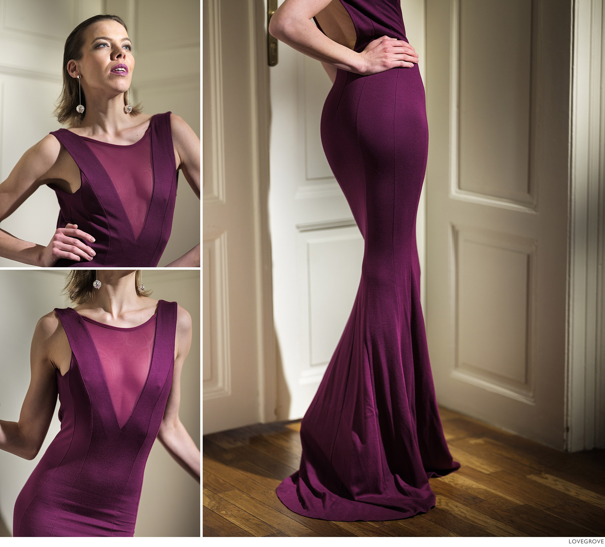 A colour shot of Denisa in a purple fishtail dress