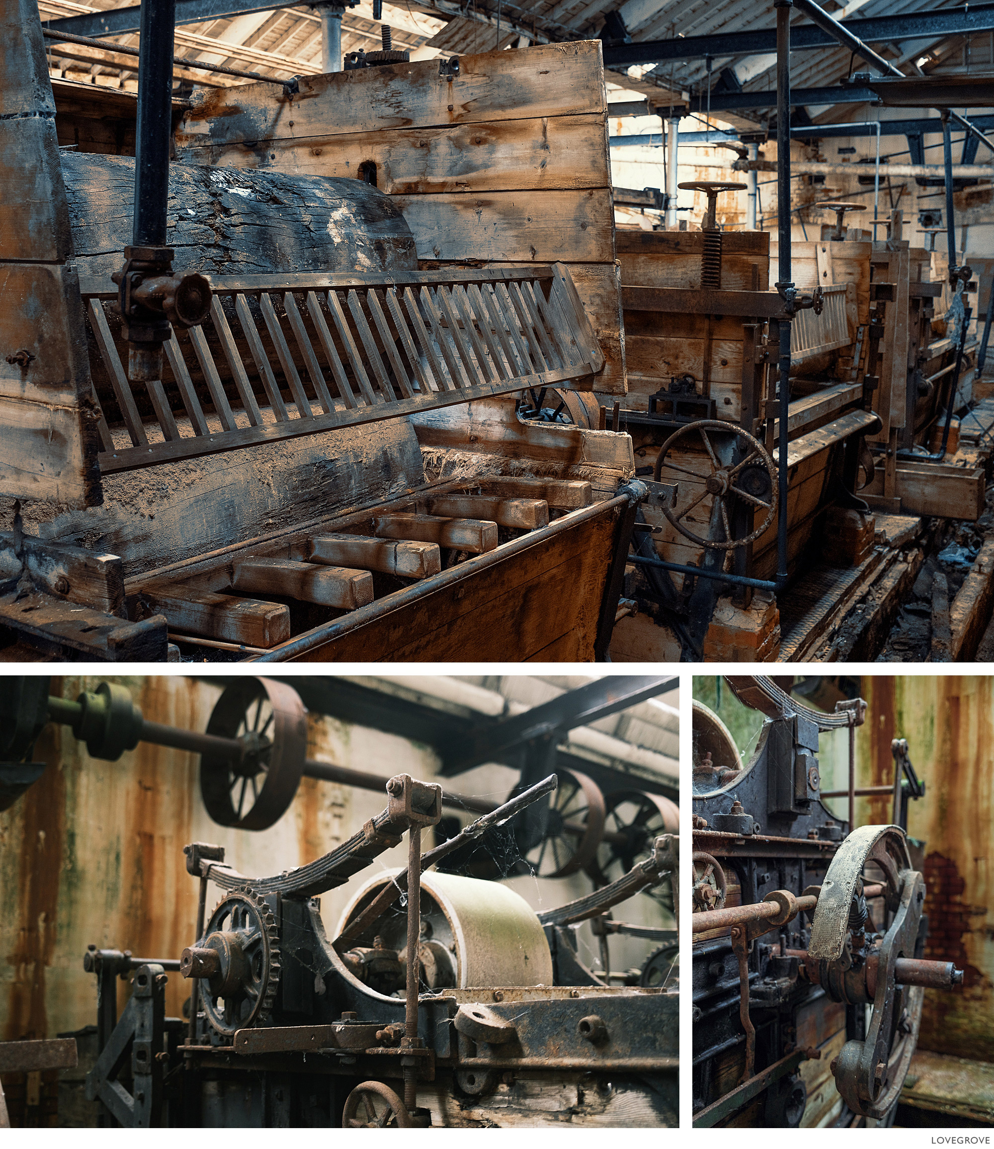 Old machinery in an abondoned textile mill in Tonedale Somerset