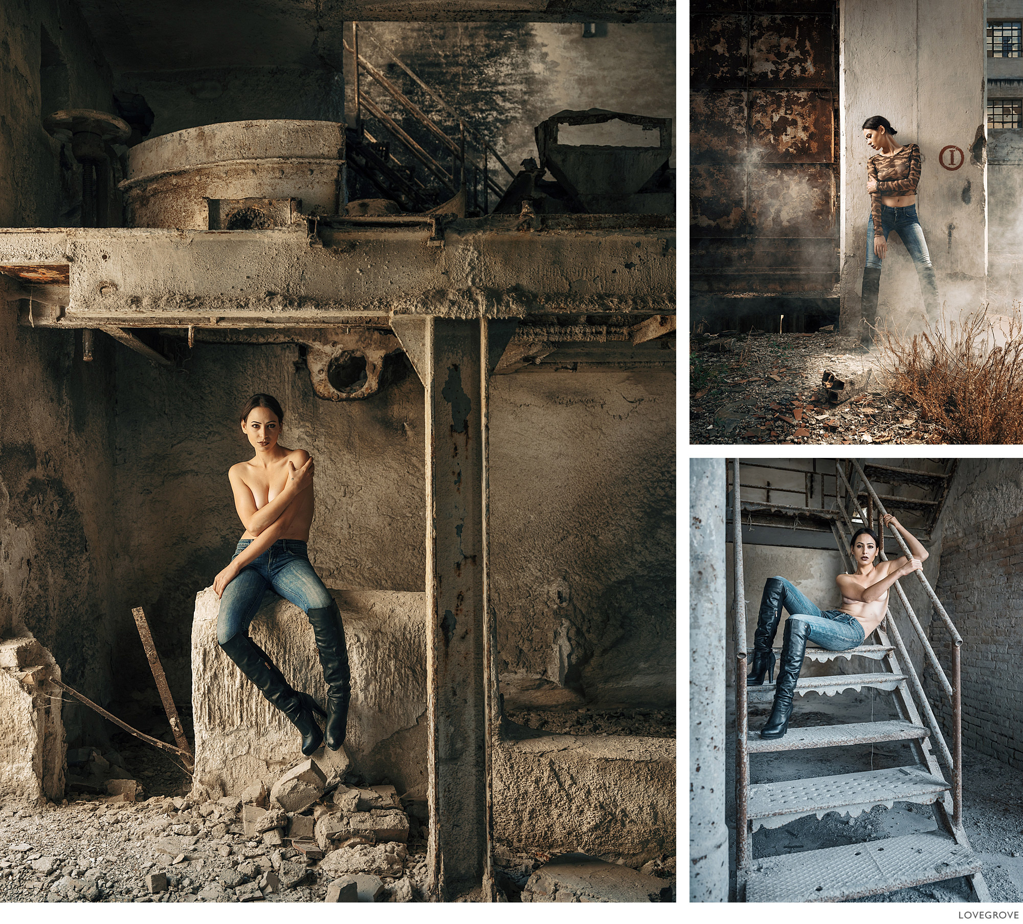 Martina in a derelict manufacturing plant.